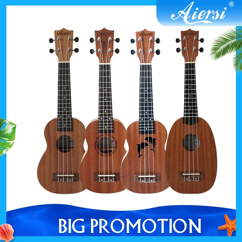 Soprano Ukulele Guitar Tuner Dolphin 21inch Pineapple-Design Capo Colorful Spruce
