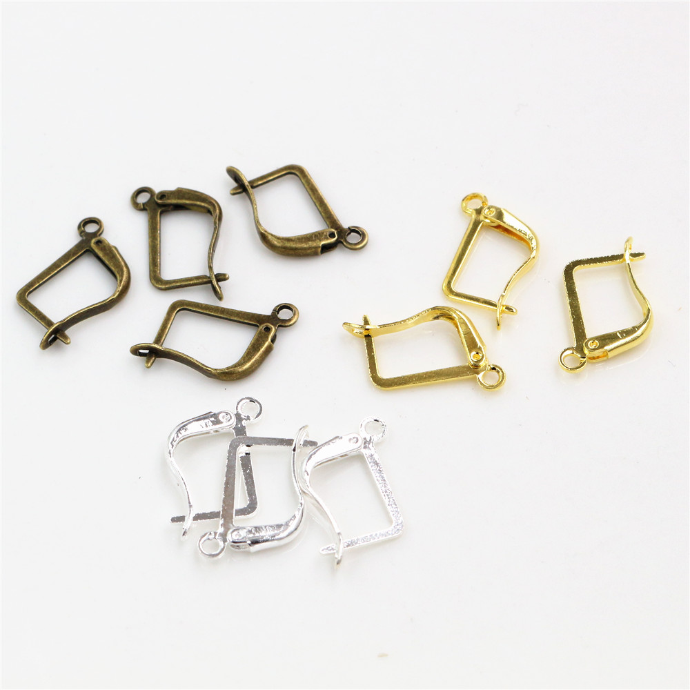 16*10mm 50pcs High Quality 3 Colors Plated Simple Brass French Earring Hooks Wire Settings Base Settings Whole Sale