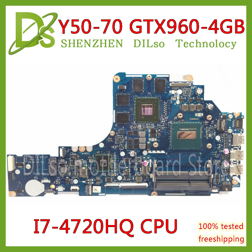 KEFU ZIVY2 LA-B111P Motherboard For Lenovo Y50-70 Laptop Motherboard I7-4720HQ GTX960M-4GB Original Test Motherboard Notebook