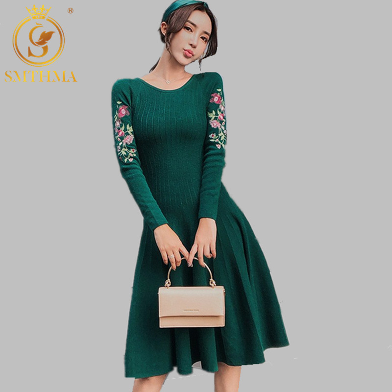 SMTHMA2019 New Fashion Autumn And Winter Sweater Dresses High Quality Embroidered Flowers Long Sleeve Warm Dress Vestidoes