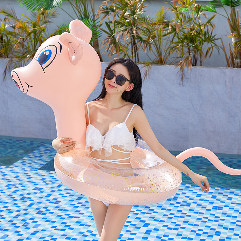 Pink Inflatable Pool Float Swimming Ring Kids Pool Float Toys Girls Cartoon Pig Swim Ring With Golden Sequins Inside