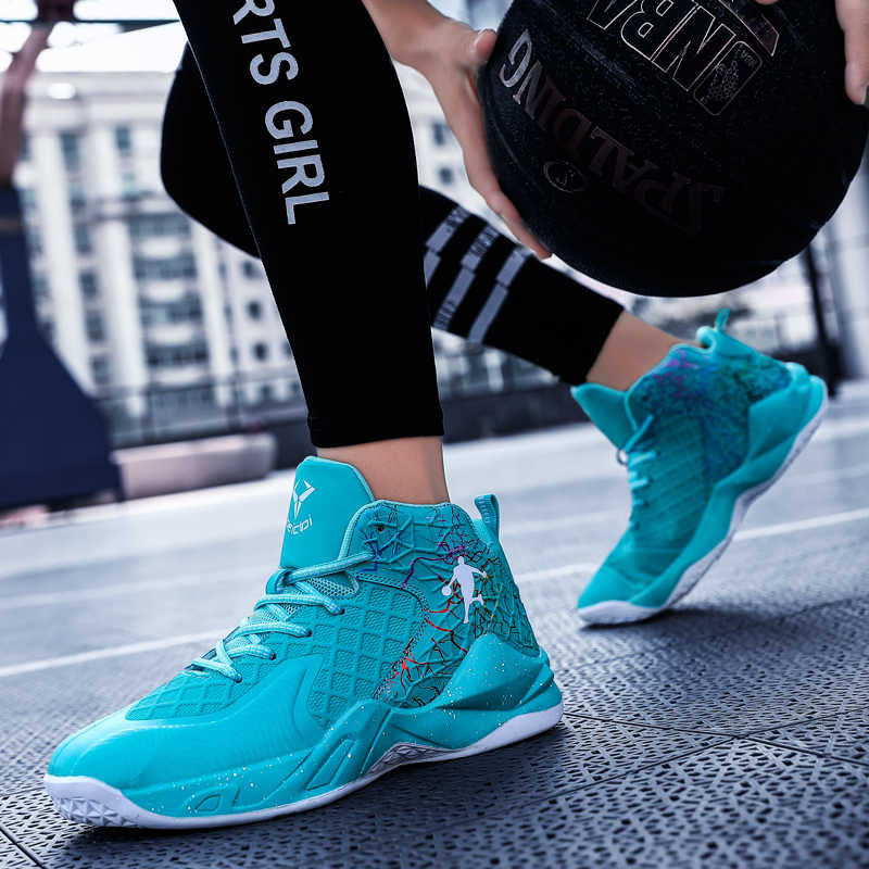 JORDAN รองเท้าบาสเก็ตบอลสำหรับชาย CUSHIONING รองเท้าผ้าใบบาสเกตบอลชาย High-Top รองเท้าผ้าใบกีฬากลางแจ้ง Breathable กีฬารองเท้า