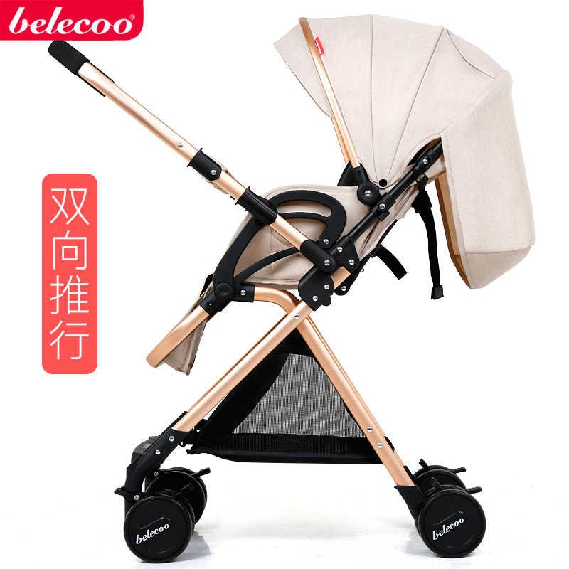 Beleeco leve carrinho de criança alta paisagem carrinho de bebê dobrável amortecedor da criança mão empurrar guarda-chuva recém-nascido transporte