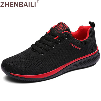 ZHENBAILI Men Casual Shoes Summer Breathable Mesh Knit Sneakers Lace-up Trainers Comfortable 2019 Women Male Flat Sport Shoes