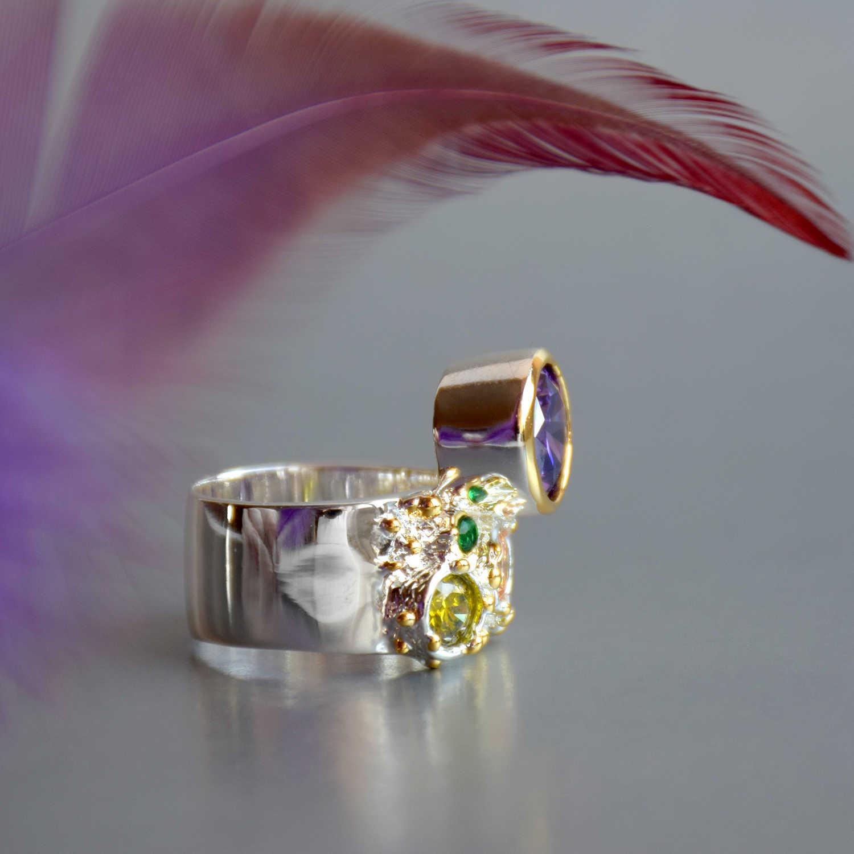 DreamCarnival 1989 جديد وصول الملونة المؤنث الزركون للنساء كبيرة حجر أرجواني القوطية الزفاف الخطوبة مجوهرات WA11704