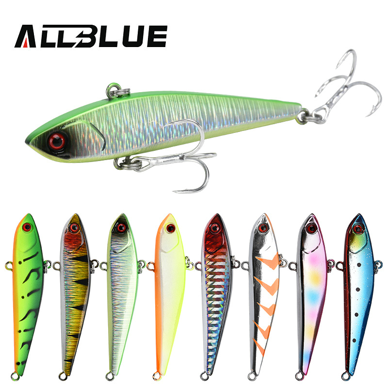 ALLBLUE BLUX 77S VIB Sinking Fishing Lure Vibration 77mm 15.5g Hard Plastic Artificial Bait Winter Ice Fishing Pike Tackle