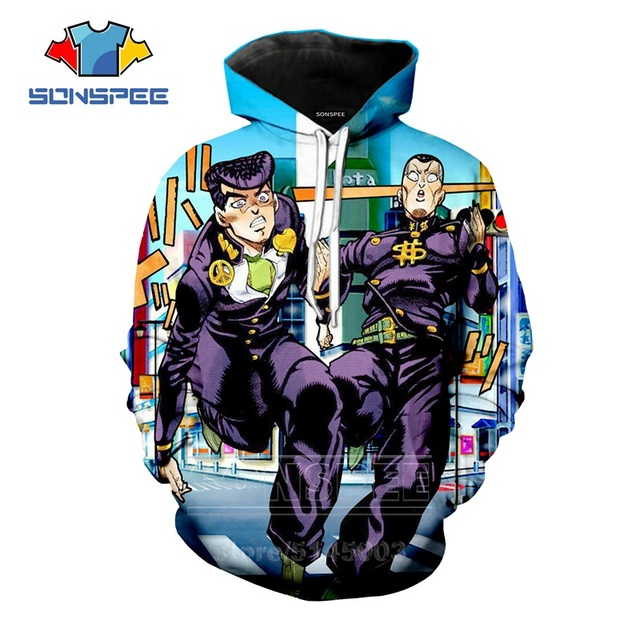 JoJo Bizarre Adventure Hoodies Men Women Kujo Jotaro Sweatshirt 3D Print Anime Unisex Long Sleeve Sports Top Loose Pullover C04 4