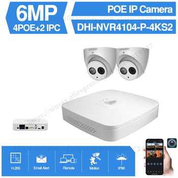 Dahua 4MP 4+2/4 Security Camera System 6MP IP Camera IPC-HDW4631C-A 8CH POE NVR4104-P-4KS2 Surveillance P2P System Remote View