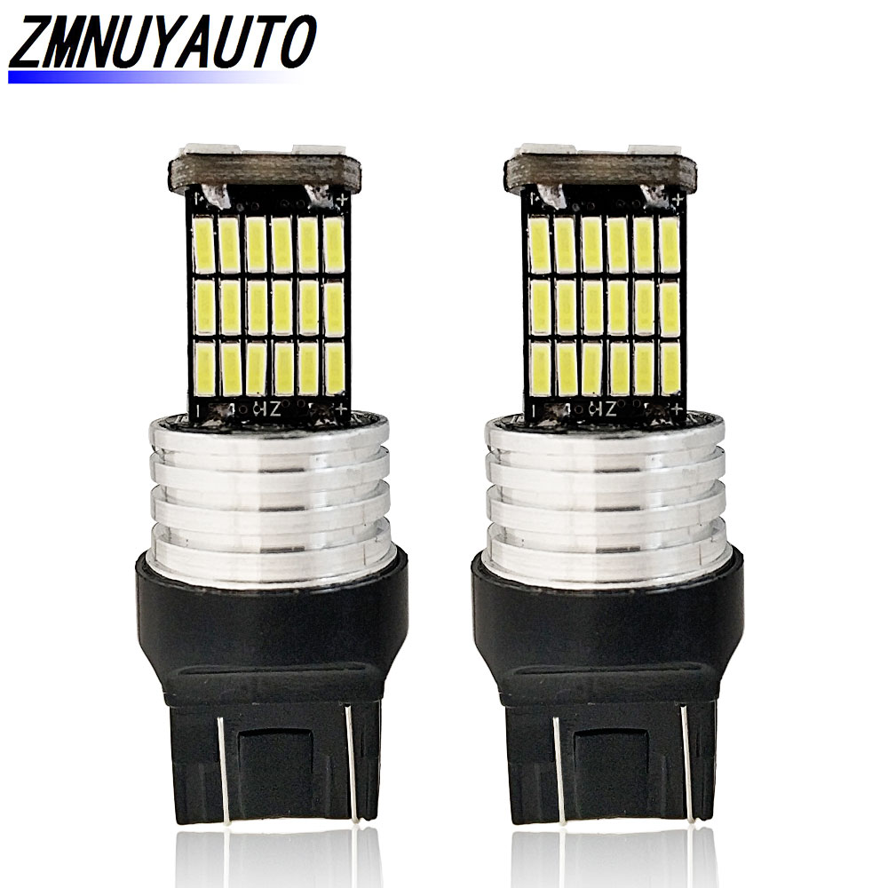 2PCS <font><b>W21</b></font> <font><b>5W</b></font> T20 7443 Led Bulbs 680Lm White 45SMD 4014 Auto Reverse Backup Lamp DRL Car Turn Signal Light 12V image