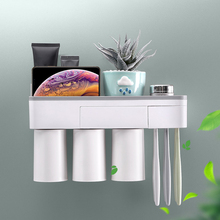 Wall Mount Magnetic Adsorption Toothbrush Holder Inverted Toothpaste Makeup Cleanser Storage Rack Bathroom Accessory Set