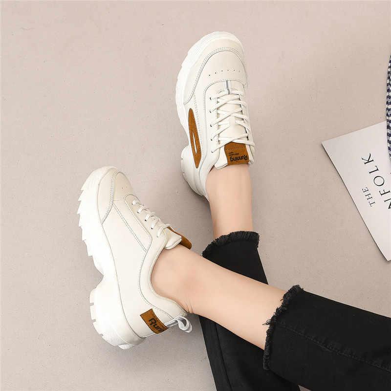 2019 zapatillas de deporte gruesas zapatos casuales de moda para mujer con cordones