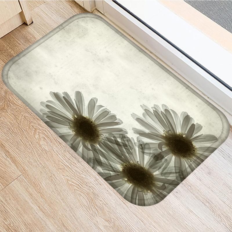 Image 4 - Leaf Flower Pattern Non slip Bedroom Decoration Soft Carpet  Kitchen Floor Living Room Floor Mat Bathroom Non slip Mat 40x60cm   .Rug