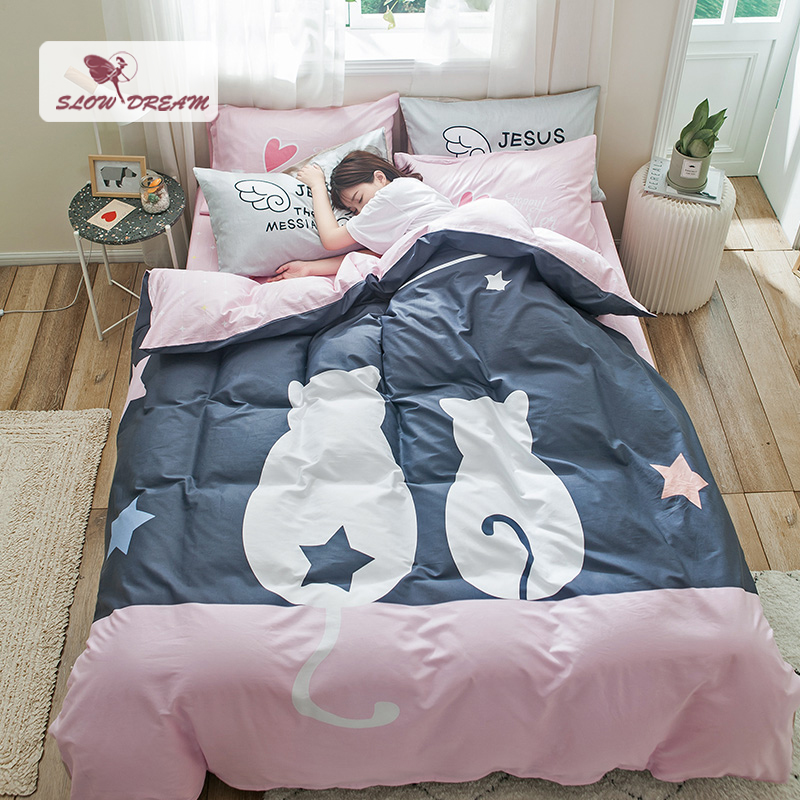 SlowDream Cat Girl 100% Cotton Bedding Set Cartoon Duvet Cover Flat Sheet Elastic Fitted Sheet Decor Home Bedspread Adult Child