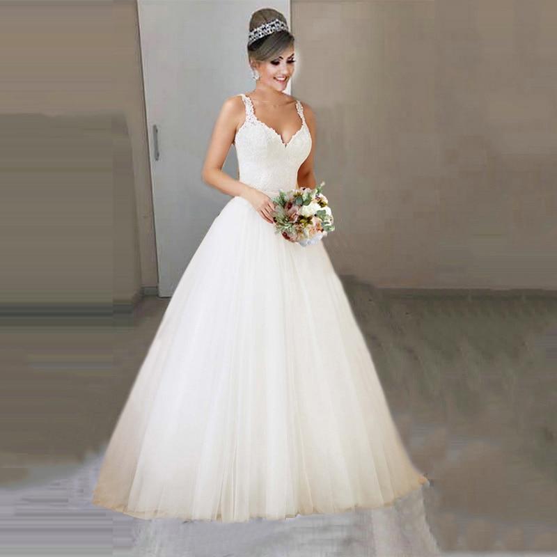2019 New 2 In 1 Bridal Gowns Detachable Wedding Dress Princess Elegant Lace Appliques Vestido De Noiva 2 In 1 Ball Gown
