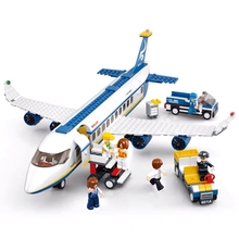 DIY 0371 0366 City Air Plane Airbus Cargo Aircraft Building Blocks Childrens Educational Toys Gifts