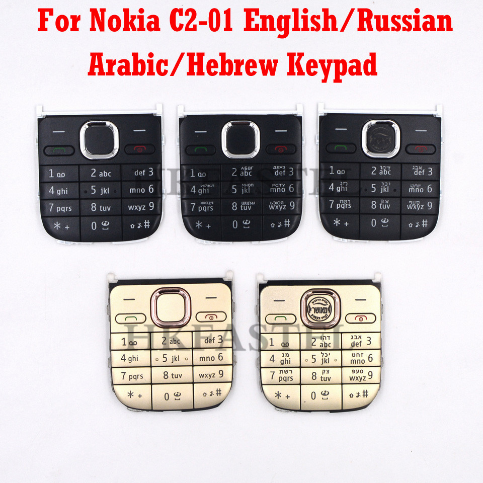 For Nokia C2-01 New Original Mobile Phone English Russian Arabic Hebrew Keypad For C2 C2-01 Replacement Housing Cover Keyboard