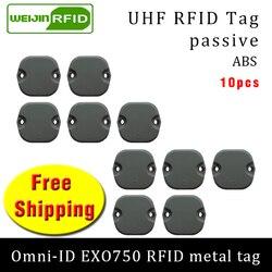 العلامة المعدنية UHF تتفاعل omni-ID EXO750 915 متر 868 ميجا هرتز إمبينج Monza4QT 10 قطعة شحن مجاني دائم ABS البطاقة الذكية السلبي تتفاعل العلامات