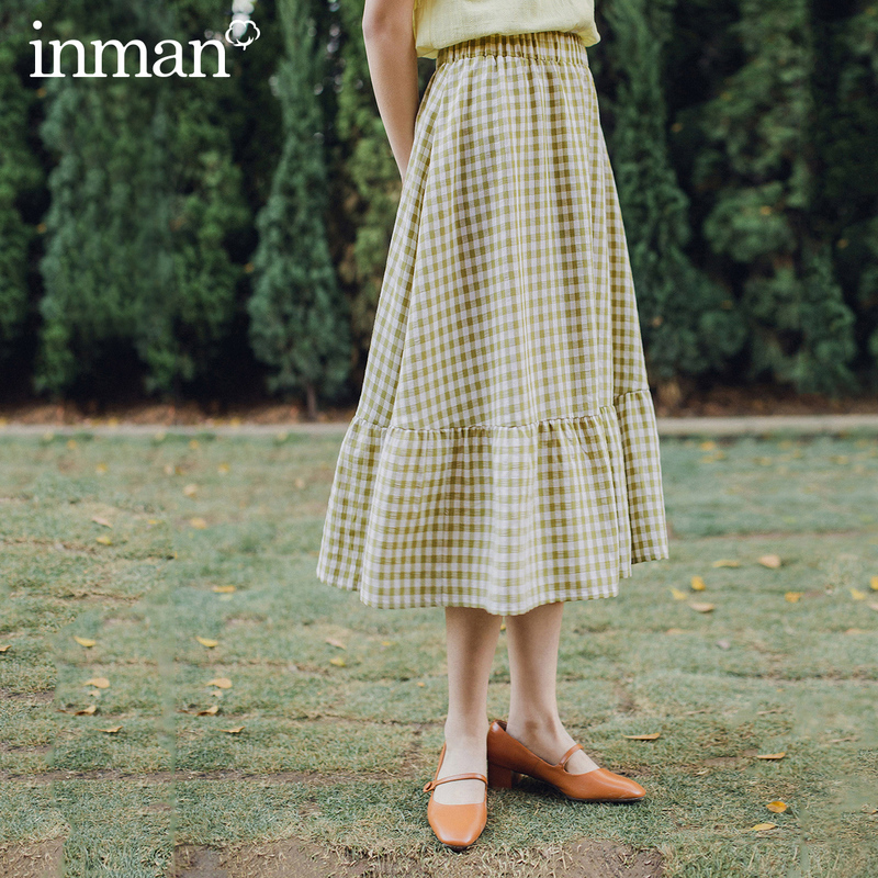 INMAN Retro Style 2020 Summer New Arrival Pastoral Plaid A-line Skirt