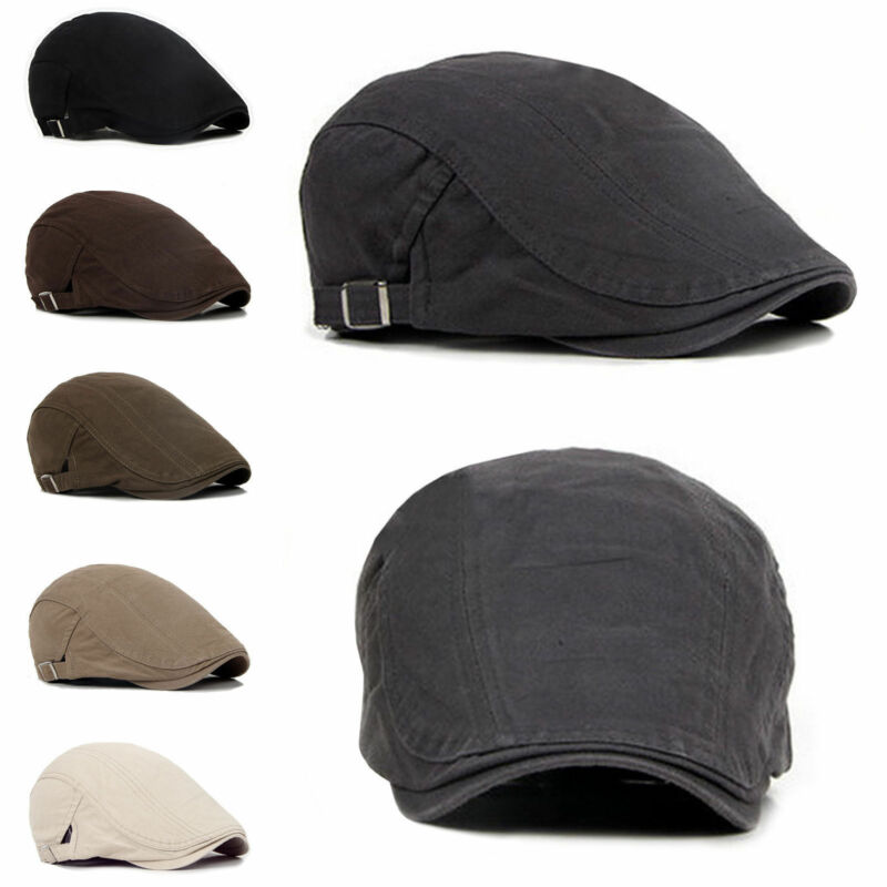 New Men's Hat Berets Cap Golf Driving Sun Flat Cap Fashion Cotton Berets Caps For Men Casual Peaked Hat Visors Casquette Hats
