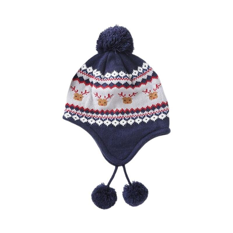 Kids Baby Winter Christmas Reindeer Pompom Earflap Beanie Cap Long Scarf Gloves LX9E