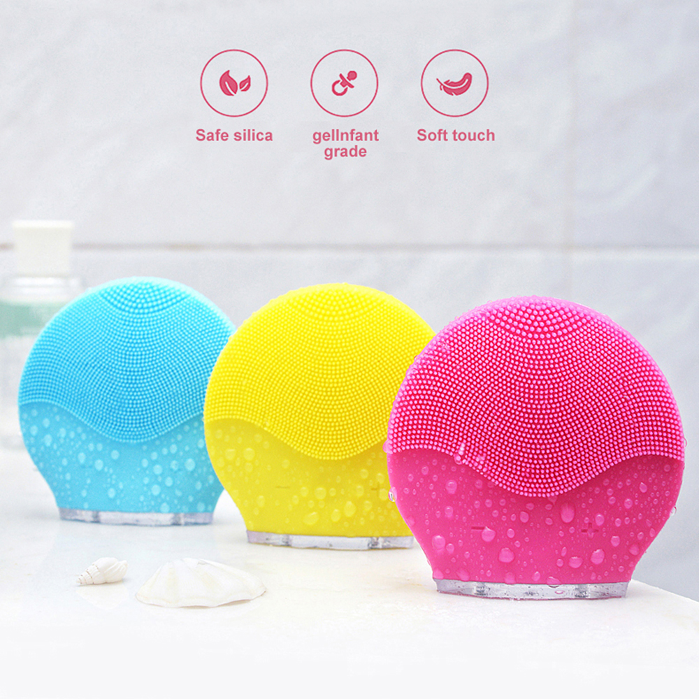 Electric Facial Cleansing Brush Silicone Face Cleansing Tool USB Waterproof Washing Face Machine Deep Cleaning Face Brush