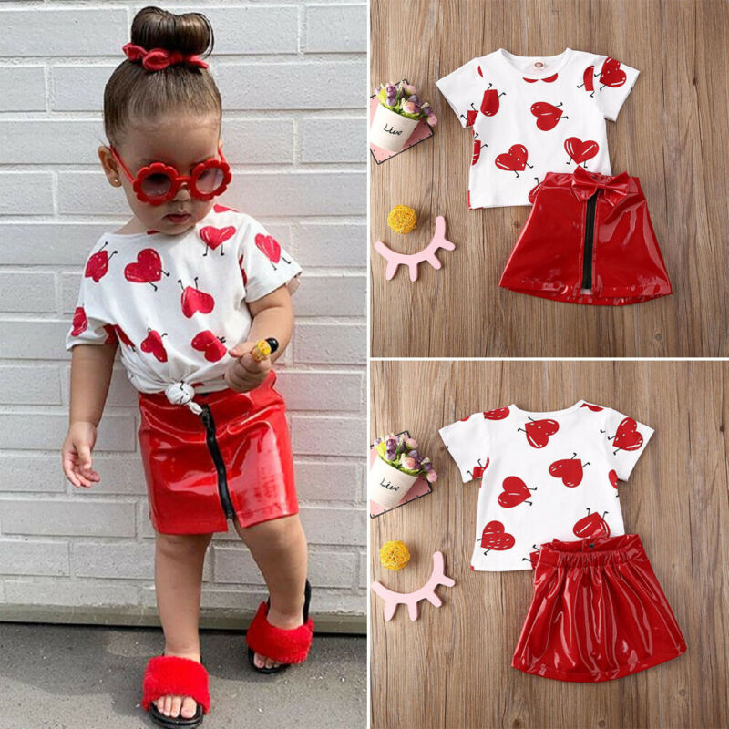2020 Fashion Toddler Kid Baby Girl Valentine Clothes Love Top T-shirt Leather Skirt Outfit 2PCS Short Sleeve Girl Clothing Set
