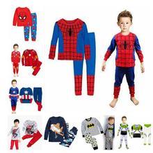 Новая одежда для малышей; детские пижамы с человеком-пауком; детские пижамы с Бэтменом из мультфильма; комплекты одежды для сна с принтом для мальчиков