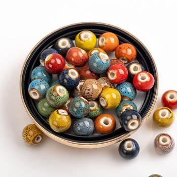 6-12 # multcolor ceramiczne koraliki koraliki porcelanowe duże otwory kwiatowe koraliki koraliki handmade DIY akcesoria hurtownie 0A2 #831 tanie i dobre opinie Midofare CN (pochodzenie) NONE Okrągły kształt 0 05 Beads