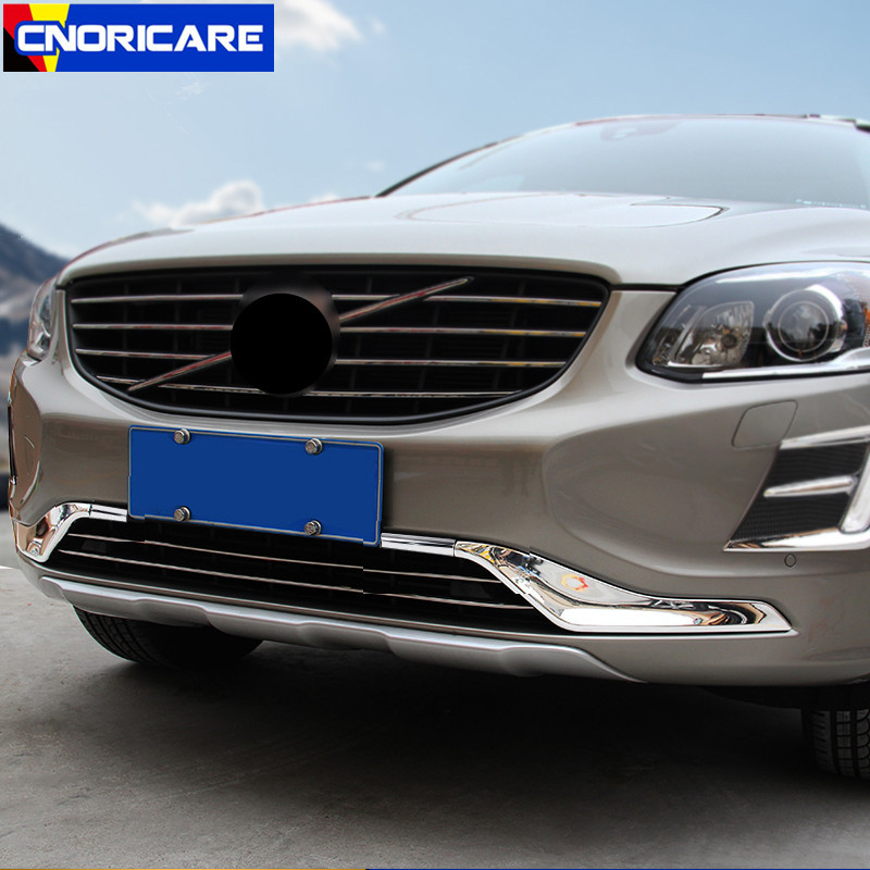 Car Front Grille Trim Strips ABS 4pcs For Volvo XC60 2014-17 Auto Exterior Modified Accessories