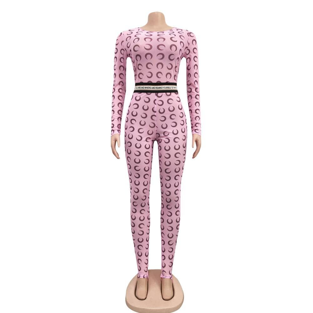Летний сексуальный женский комбинезон с принтом Луны, женский комбинезон с длинным рукавом, розовый неоновый облегающий цельный женский комбинезон, Женский Облегающий комбинезон