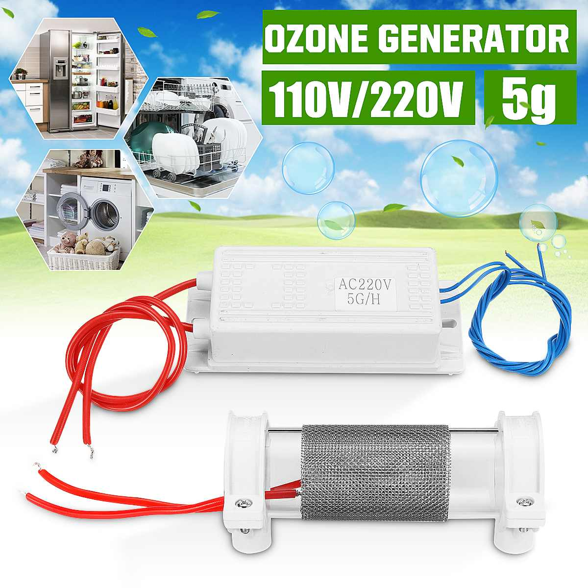 5g/h Ozone Generator Quartz Tube Generator Air Purifier For Home Air Disinfection Sterilization Purification Air Water Cleaner