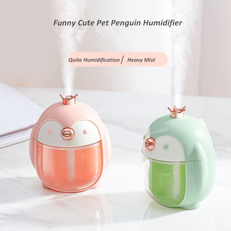 Portable Ultrasonic Humidifier Cute Pet Penguin 300ML Air USB Aroma Essential Oil Diffuser With Color Night Lamp Umidificador