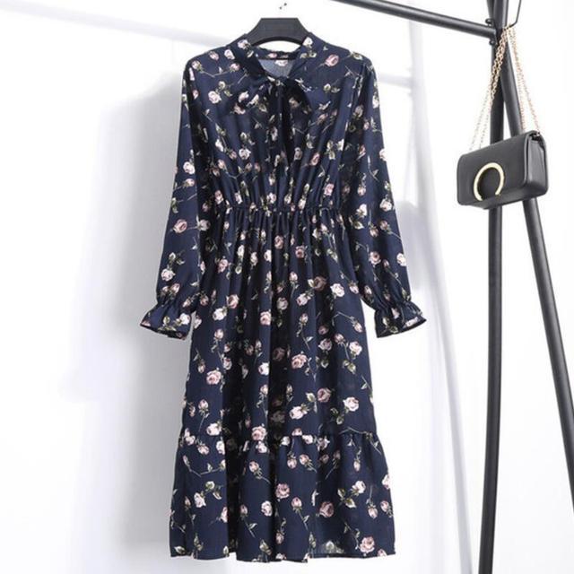 Women Casual Autumn Dress Lady Korean Style Vintage Floral Printed Chiffon Shirt Dress Long Sleeve Bow Midi Summer Dress Vestido 5