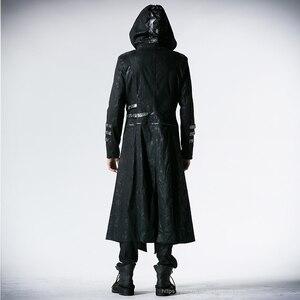 Image 4 - Мужская длинная куртка с капюшоном, черная Длинная регулируемая куртка в готическом стиле, ветровка в стиле панк