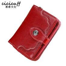 CICICUFF Genuine Leather Women Short Wallet Women's Purse Zipper oil wax leather Purse Card slots Wallet Coin Pocket Cartera
