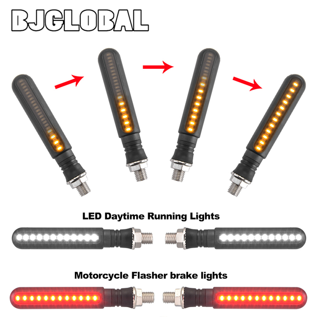 Universal Motorcycle Led Turn Signal Flowing Water Turn Signal & DRL Driving Lamp & Red Brake Stop Tail Light Flasher Indicators