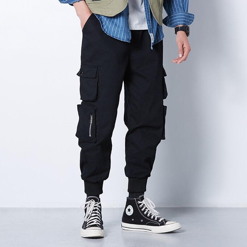 Ribbons Harem Joggers Men Cargo Pants Streetwear 2020 Hip Hop Casual Pockets Track Pants Male Harajuku Fashion Trousers 5