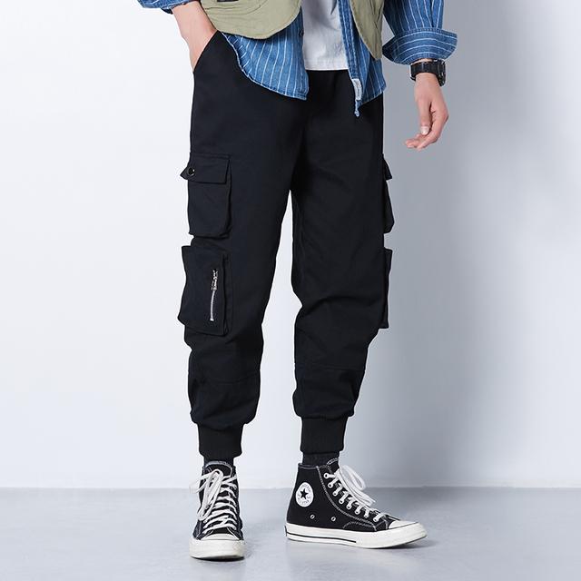 Ribbons Harem Joggers Men Cargo Pants