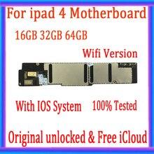 Wifi /3G Versione per ipad 4 della scheda madre Con trasporto iCloud, sbloccato originale per ipad 4 scheda Logica IOS di SISTEMA, 16GB / 32GB / 64GB