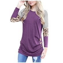 Vrouwen Tops En Blouses Dames Fashion Winter Ronde Luipaard Print Stiksels Casual Top Vrouwen Blouse Lange Mouw Blusa Feminin ##7(China)