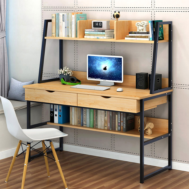 Man Patriarch Computer Table Simplicity Household Computer Desktop Table Desk Bookshelf Combination Table Economical Office Desk