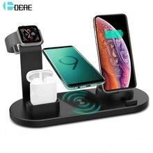 DCAE 4 in 1 Qi Drahtlose Ladegerät Für iPhone 11 X XS XR 8 10W Typ C USB Schnelle lade Dock Stehen für Apple Uhr 5 4 3 2 Airpods