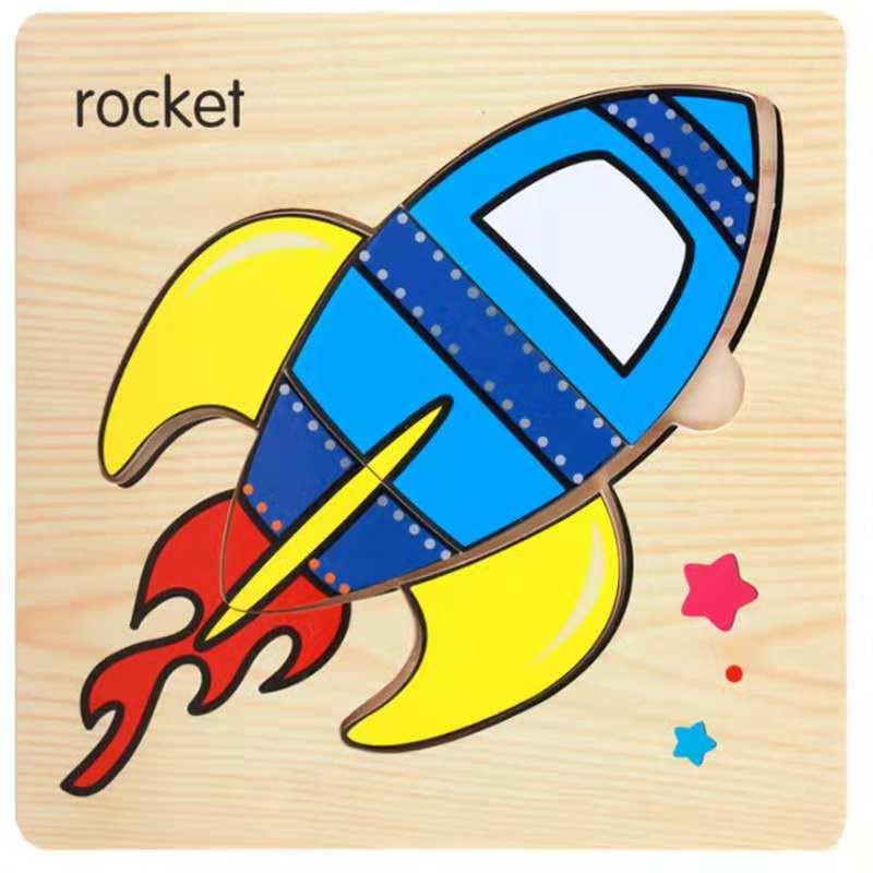 3D деревянные головоломки, игрушки для детей, Деревянные 3d Мультяшные головоломки с животными, интеллектуальные детские развивающие игрушки для детей - Цвет: Арбузно-красный