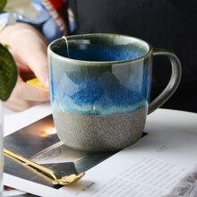 350ml Ceramic Milk Coffee Breakfast Mugs Gradual Change Starry Sky Cerative Retro Mug Afternoon Tea Office Water Cup Japan Style