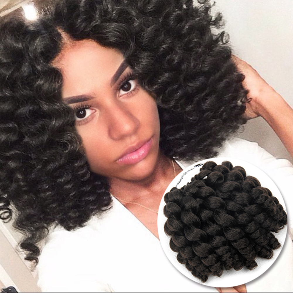 Jamaican Bounce Crochet Hair Ombre Jumpy Wand Curl Synthetic Braiding Curly Crochet Braid Twist Hair Extensions 8