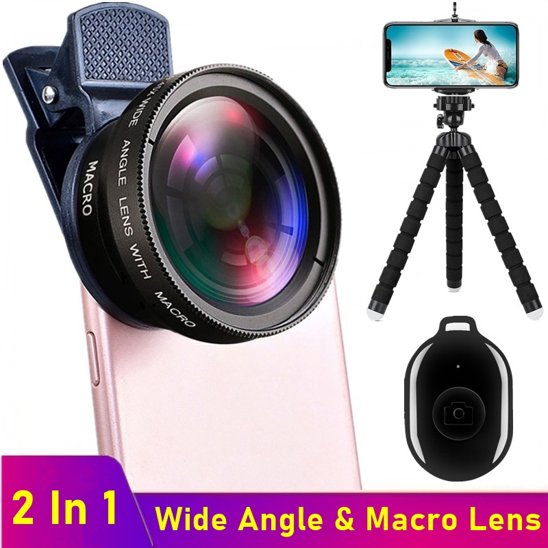 Tongdaytech HD Mobile Phone Camera Lens 0.45x Wide Angle 12.5x Macro Lens For iPhone 12 11 Pro Max 8 7 Plus Samsung With Tripod