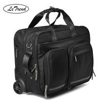 Leتريند 16 بوصة رحلة عمل المتداول الأمتعة متعددة الوظائف حقيبة عجلات الرجال تحمل على عربة الطيار حقيبة لابتوب حقيبة السفر