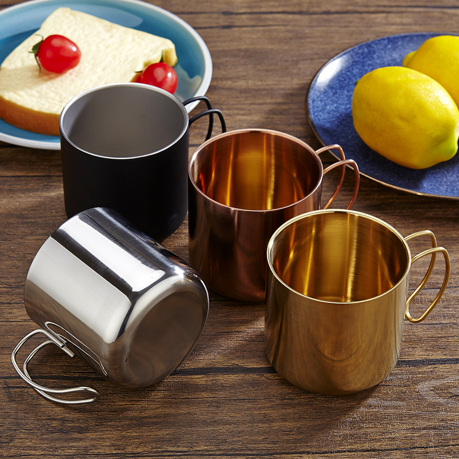Nordic 304 stainless steel coffee cup with hand mug beer handle double