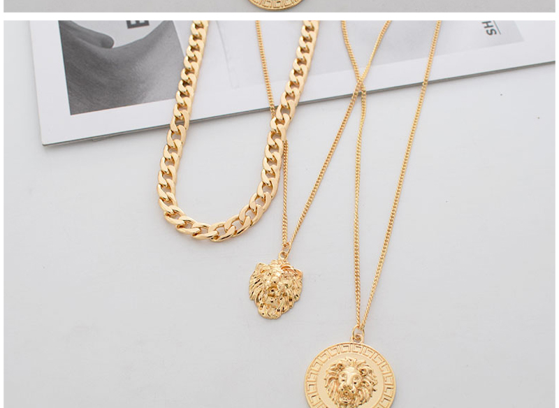 H2c221ba06f7a491687a079fb5baaf3cfo - Punk Style Statement Metal Gold Color Chain Multi Layer Necklaces Lion Pattern Round Coin Pendant Necklace For Women Party