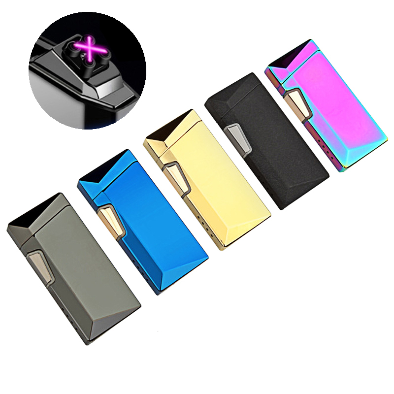 Дуговая Зажигалка двойной крест электрические с USB перезаряжаемая ветрозащитная Зажигалка без пламени для свечи пожарной сигареты на откр...
